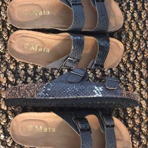 Pewter Snakeskin Sandals